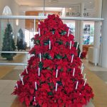 poinsettia tree with candles