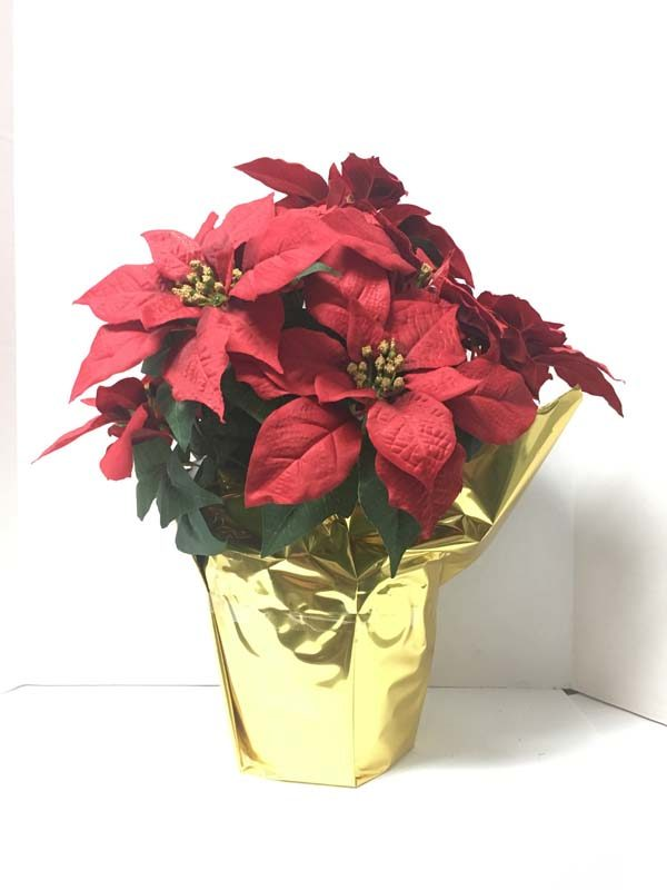 potted silk poinsettias