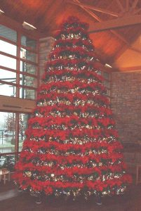 holiday decorative poinsettia tree