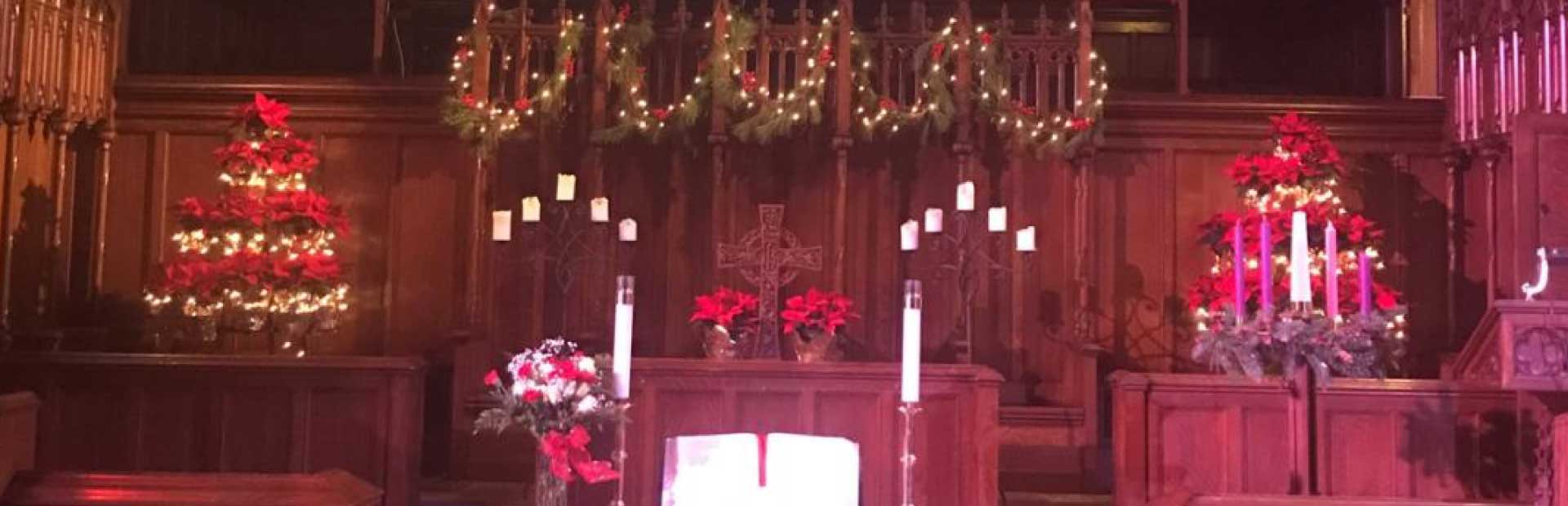 poinsettia display for altar